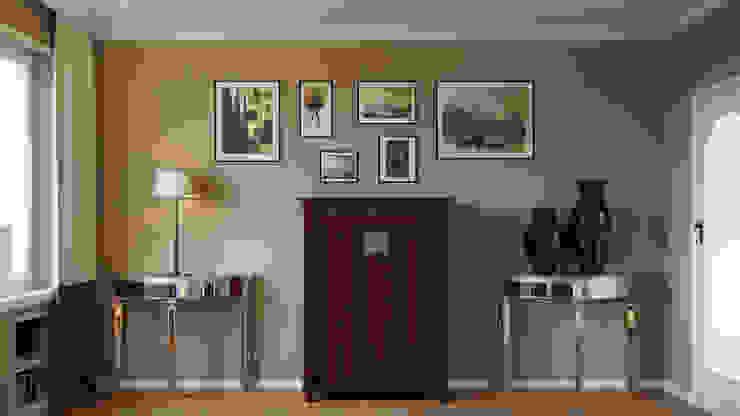 Diseño interior de un salón y comedor Isabel Gomez Interiors Salones de estilo ecléctico Marrón