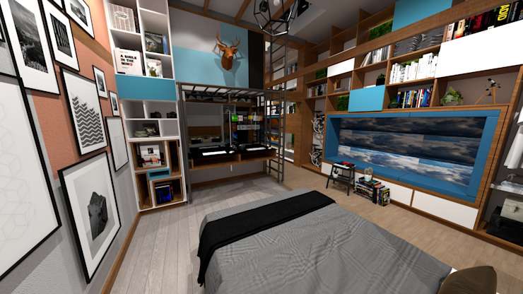 Dormitorio de Rodrigo León Palma Moderno Derivados de madera Transparente