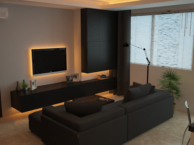 Ruang keluarga 2 Oleh Tatami design