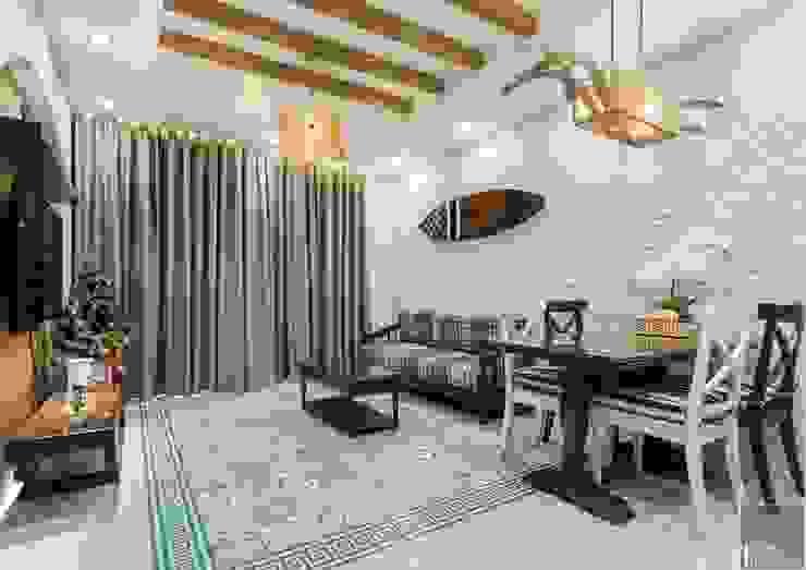 THỰC TẾ CĂN HỘ PHONG CÁCH ĐỊA TRUNG HẢI Phòng khách phong cách Địa Trung Hải bởi ICON INTERIOR Địa Trung Hải