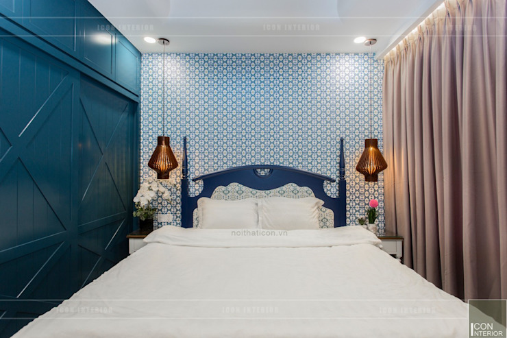 THỰC TẾ CĂN HỘ PHONG CÁCH ĐỊA TRUNG HẢI Phòng ngủ phong cách Địa Trung Hải bởi ICON INTERIOR Địa Trung Hải