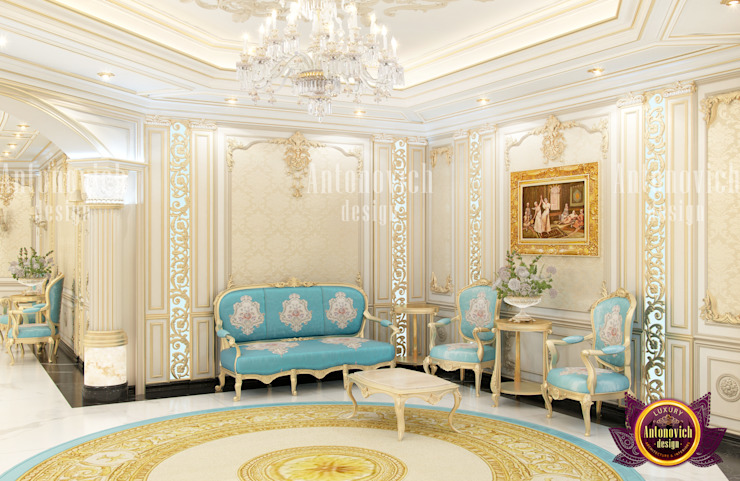 Elegant Gold Bedroom with Turquoise Accent by Luxury Antonovich Design