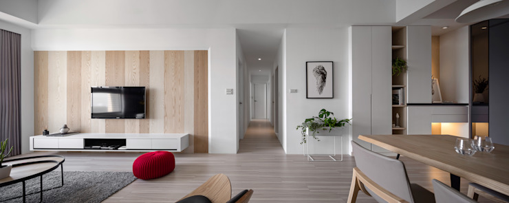 【晨染】– 廖宅 现代客厅設計點子、靈感 & 圖片 根據 六木設計 現代風