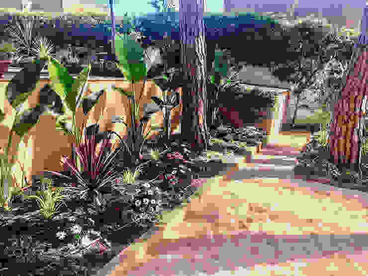 Parterre lateral piscina. Jardines de estilo tropical de Nosaltres Toquem Fusta S.L. Tropical