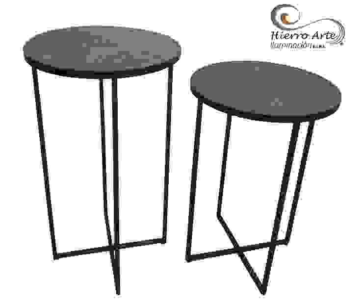 Mesas auxiliares base de hierro y tope de madera ME0016 y ME0017:  de estilo industrial por Hierro Arte Iluminación EIRL, Industrial Hierro/Acero