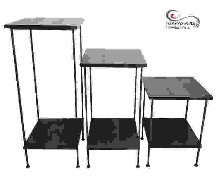 Juego de mesas cuadradas de 3 niveles ME0013, ME0014 y ME0015:  de estilo industrial por Hierro Arte Iluminación EIRL, Industrial Hierro/Acero