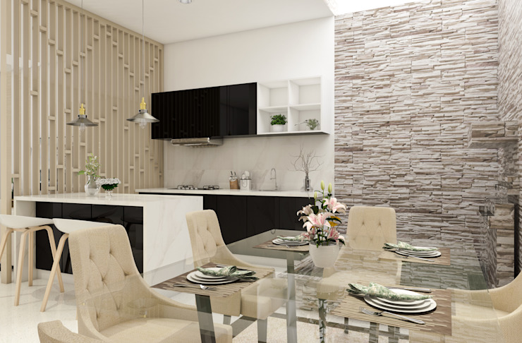 Area Dapur + makan + Kolam Ikan Ruang Makan Modern Oleh PT. Leeyaqat Karya Pratama Modern