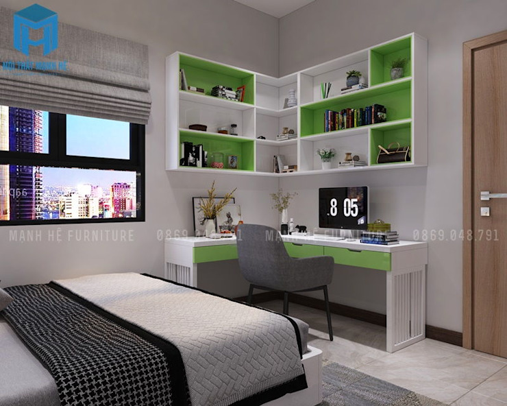 bàn học:  Phòng ngủ nhỏ by Công ty TNHH Nội Thất Mạnh Hệ