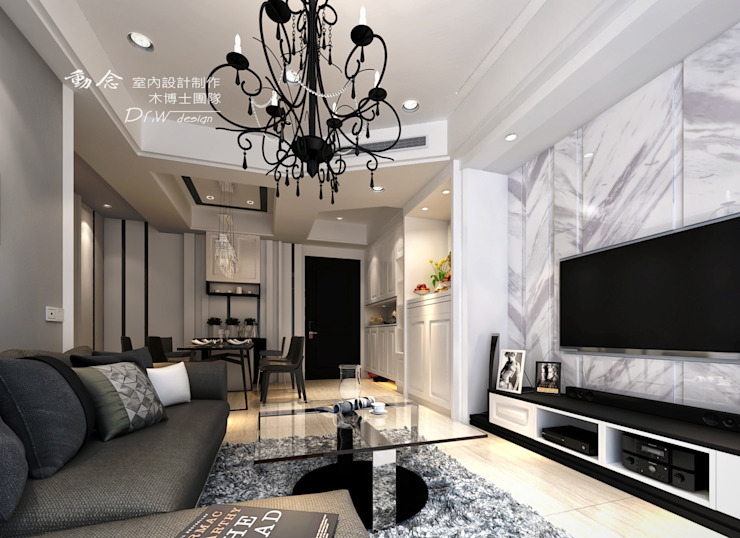客廳,系統板電視牆面 木博士團隊/動念室內設計制作 客廳 玻璃 Grey