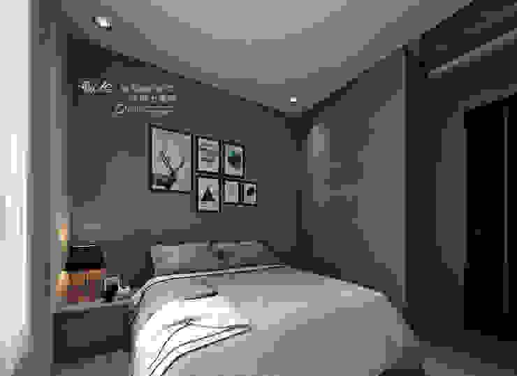 次臥 牆面跳色 木博士團隊/動念室內設計制作 臥室 複合木地板 Grey