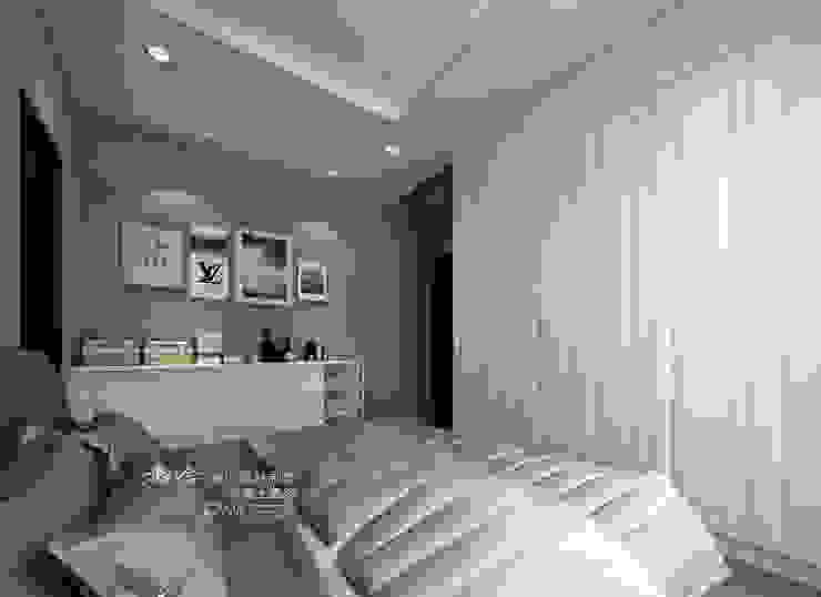 主臥,古典線板門片 木博士團隊/動念室內設計制作 臥室 複合木地板 White