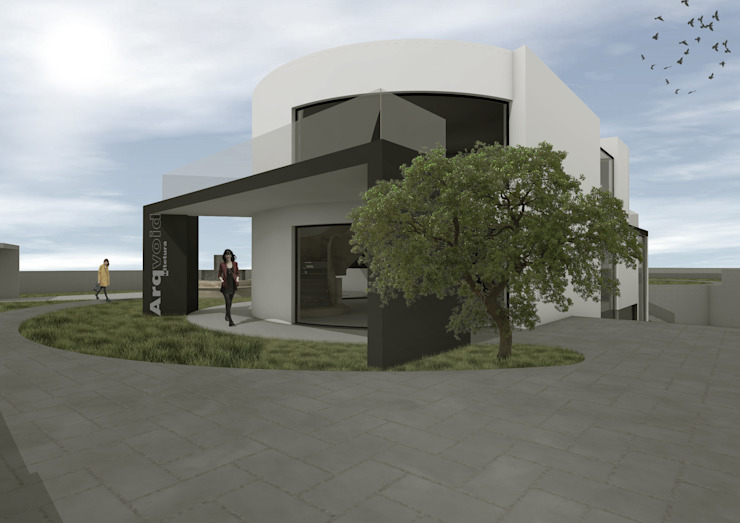 Arquitetura - Contrastes Varandas, marquises e terraços modernos por Arqvoid - Arquitetura e Serviços, Lda. Moderno