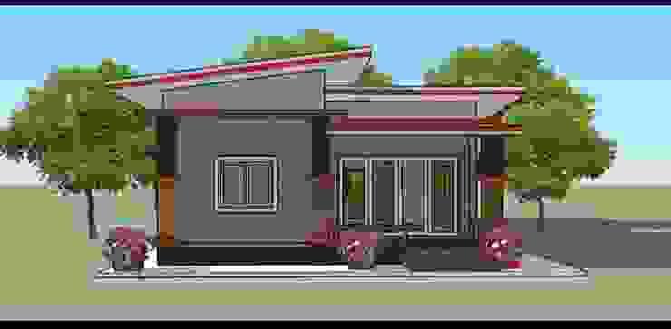 แบบบ้านหลังเล็กๆ 2ห้องนอน สไตล์โมเดิร์น โดย รับสร้างบ้าน แบบบ้านราคาถูก by bank