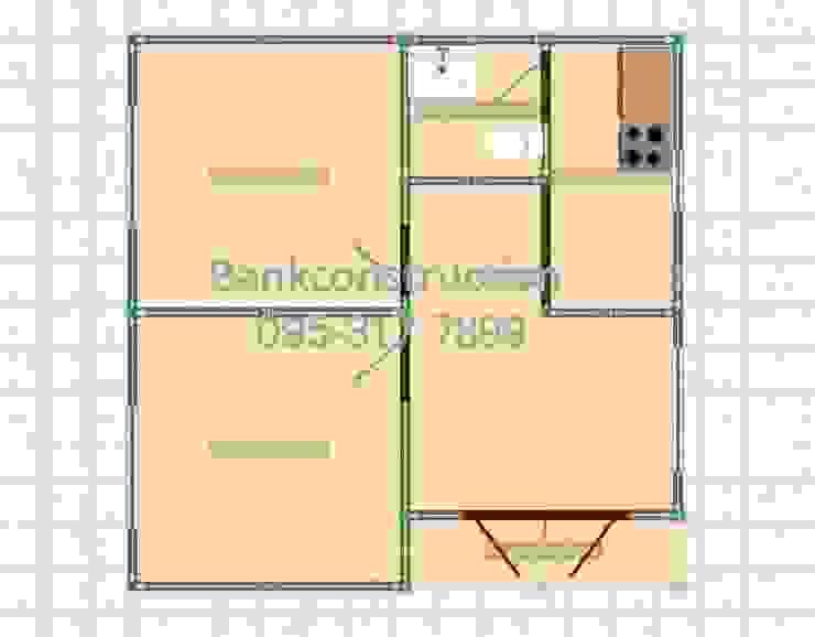 แบบบ้านหลังเล็กๆ 2ห้องนอน สไตล์โมเดิร์น ราคาถูก โดย รับสร้างบ้าน แบบบ้านราคาถูก by bank
