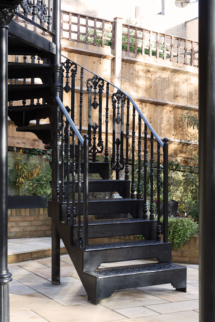 London Garden—Metal Balcony and Staircase British Spirals & Castings Stairs