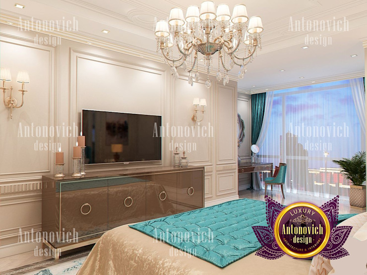 Contemporary Bedroom Interior with Turquoise Accent by Luxury Antonovich Design