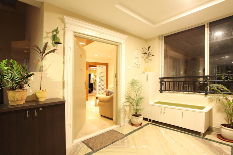 Entrance Saloni Narayankar Interiors Rustic style corridor, hallway & stairs