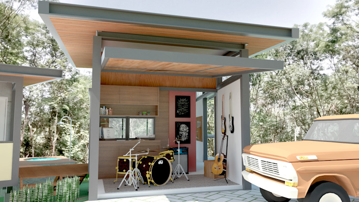 Industrial style garage/shed by Quatro Fatorial Arquitetura e Urbanismo Industrial