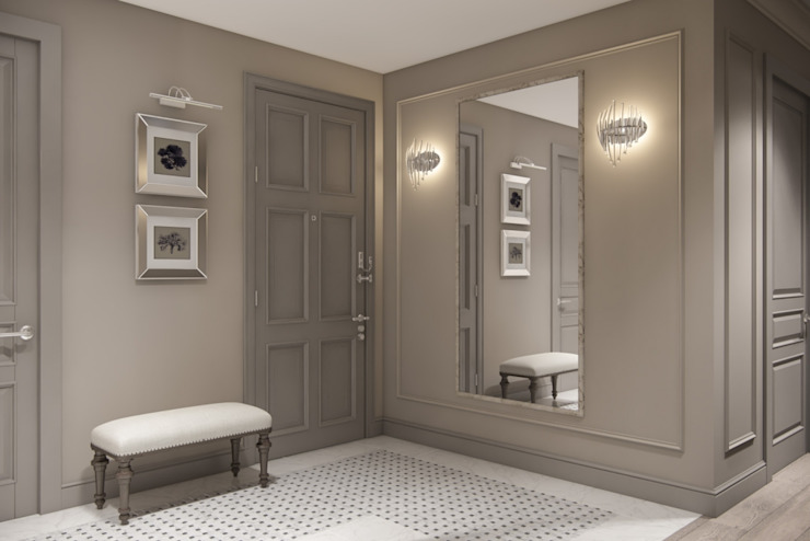 Couloir, entrée, escaliers classiques par Дизайн студия Алёны Чекалиной Classique