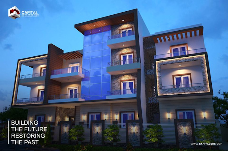 exterior design: حديث  تنفيذ Capital Construction - Eng. Hussein El Serafy, حداثي