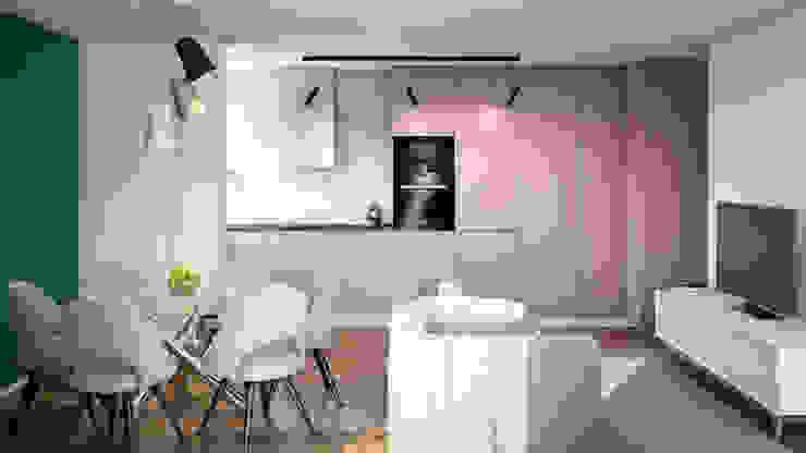 Cozinha integrada Alma Braguesa Furniture Armários de cozinha MDF Rosa