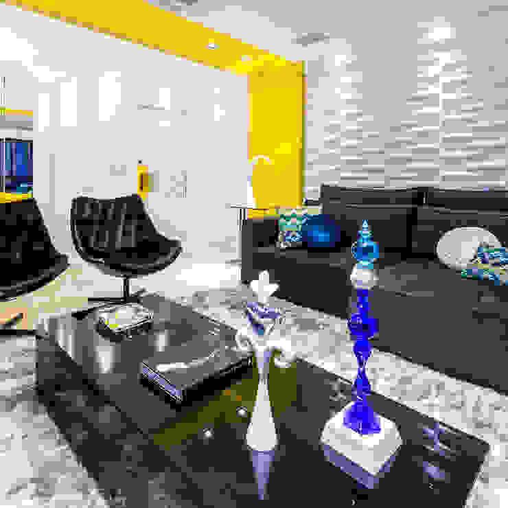 Sala de Estar/ Mesa de centro/ Sofá/ Poltronas/ Revestimento 3D Salas de estar modernas por Sônia Beltrão Arquitetura Moderno
