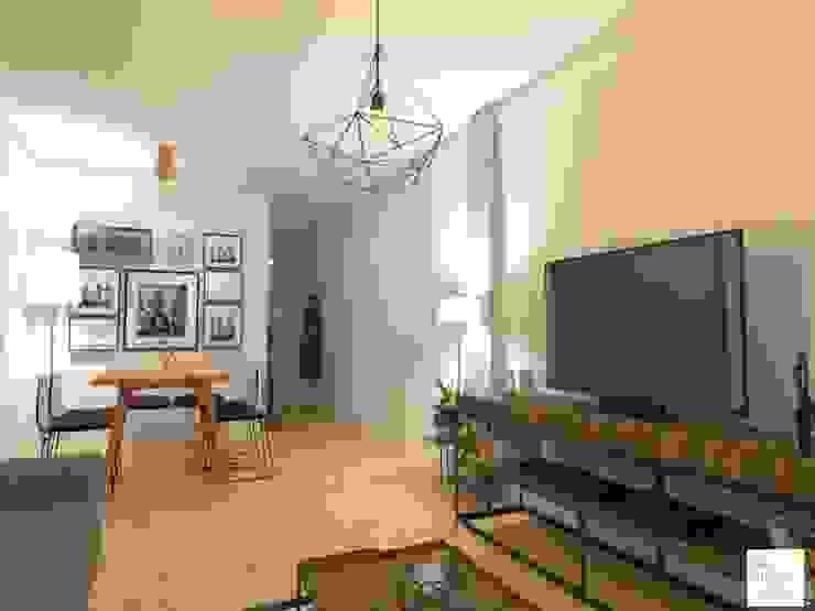 Comdedor y Living Salones escandinavos de Arquimundo 3g - Diseño de Interiores - Ciudad de Buenos Aires Escandinavo Hierro/Acero