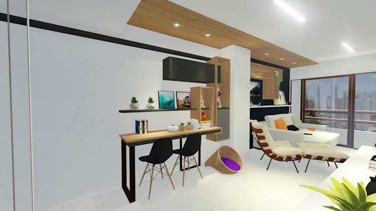 Modern dining room by Sônia Beltrão Arquitetura Modern Wood Wood effect