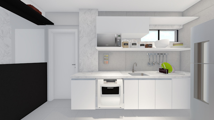 Small kitchens by Sônia Beltrão Arquitetura , Modern Quartz