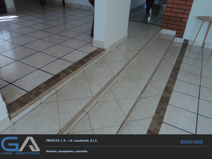 J. R. – Cd. Constitución B.C.S. Pasillos, vestíbulos y escaleras rústicos de Gomar Arquitectura Rústico