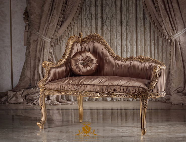 Love seat with silk fabric: الآسيوية  تنفيذ NADIA .Gallery, أسيوي خشب Wood effect