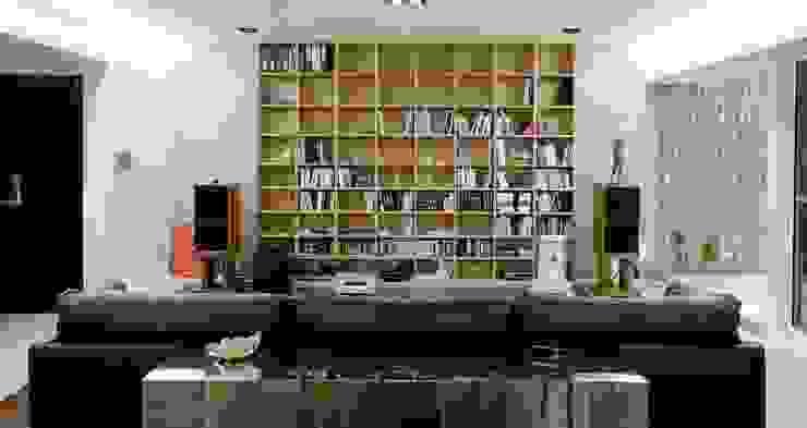 結合書房與家庭電影院的客廳: 現代  by 直方設計有限公司, 現代風