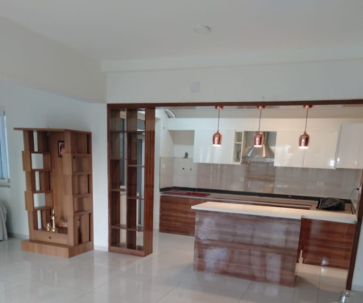 Mr.Unnikrishnan's Residence, Urban Forest, Whitefield, Bangalore Design Space KitchenCabinets & shelves Plywood Multicolored