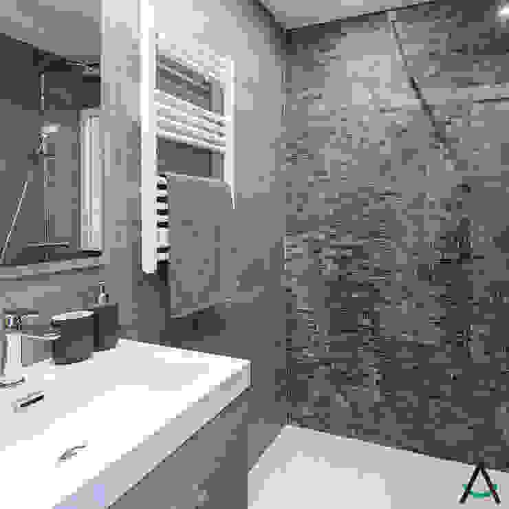 Estudi Aura, decoradores y diseñadores de interiores en Barcelona Salle de bain moderne Céramique Gris