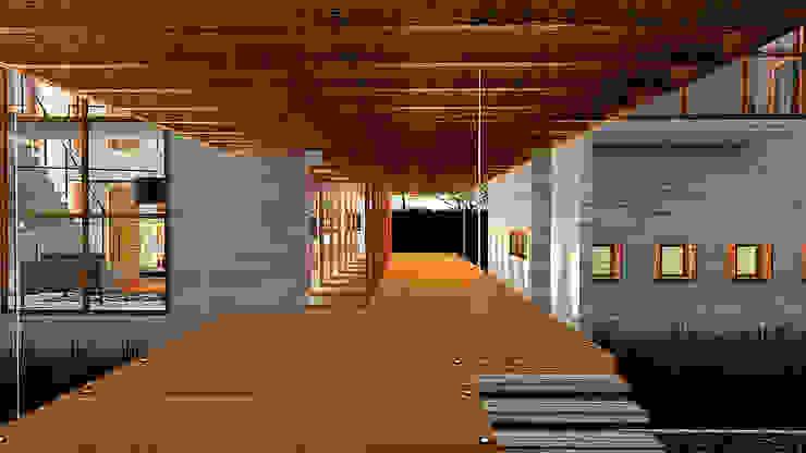 Refúgio Serrano Corredores, halls e escadas campestres por Pedro Ivo Fernandes | Arquiteto e Urbanista Campestre