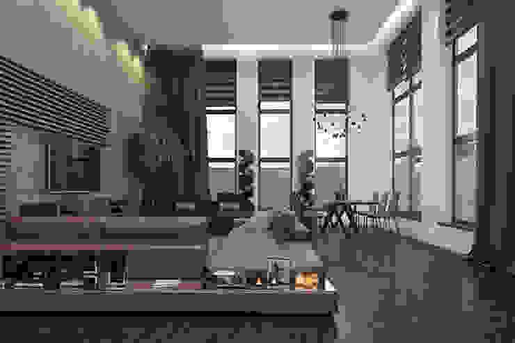 Ruang Keluarga Gaya Industrial Oleh pashchak design Industrial Kayu Wood effect