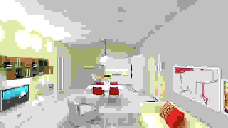 Bianco e Luce per l'open space Soggiorno moderno di TOBEHOME INTERIORS Moderno Legno Effetto legno