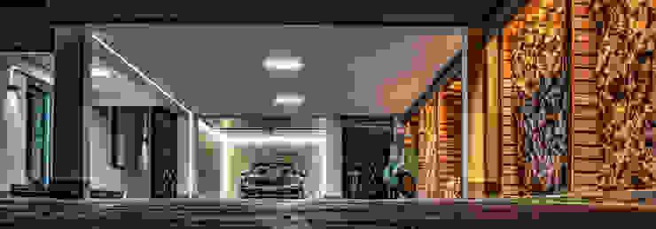 Indirekte Beleuchtung einer Einfahrt/Garage mit 3D LED-Schienen Moreno Licht mit Effekt - Lichtplaner Carport