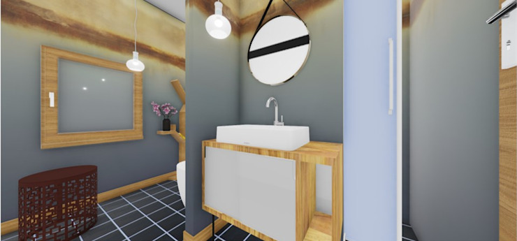 Scandinavian style bathroom by SweetYellow Scandinavian Engineered Wood Transparent