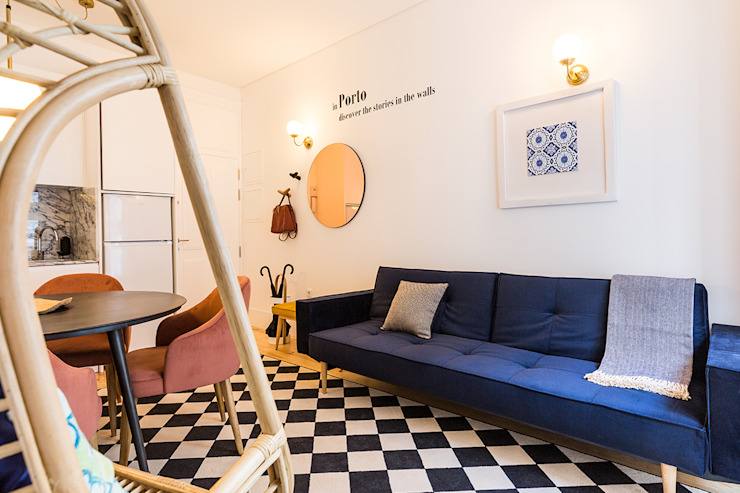 Sala - Janelas de S. Bento, Porto - SHI Studio Interior Design Salas de estar escandinavas por SHI Studio, Sheila Moura Azevedo Interior Design Escandinavo