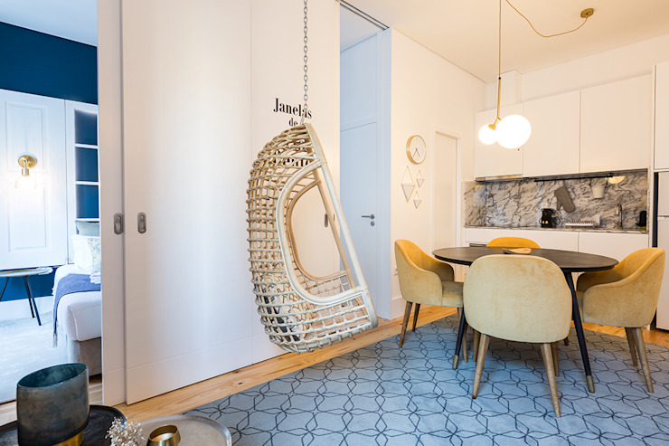 Sala - Janelas de S. Bento, Porto - SHI Studio Interior Design Salas de jantar escandinavas por SHI Studio, Sheila Moura Azevedo Interior Design Escandinavo