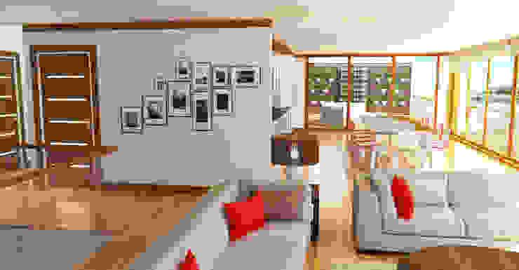 Simulação 3D da zona da sala e cozinha Salas de estar modernas por Reprojeta Moderno