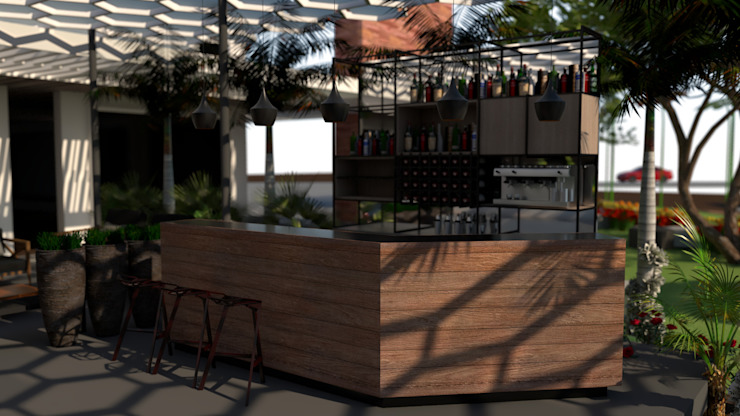 Area del Bar:  de estilo tropical por Proyectos C&H C.A, Tropical