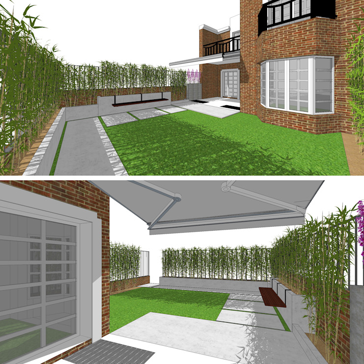 | DISEÑO DE JARDÍN | VeRsIóN 5 - vivienda de RR Estudio Interiorismo en Madrid Moderno Bambú Verde