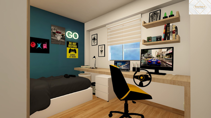 Dormitorio para Renzo de Lucero Pardo M. - Diseñadora de Interiores Moderno Madera Acabado en madera