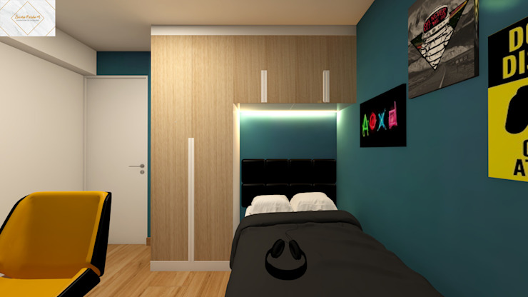 Dormitorio para Renzo Lucero Pardo M. - Diseñadora de Interiores Cuartos pequeños Madera Azul