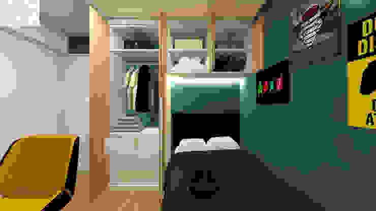 Dormitorio para Renzo Dormitorios de estilo moderno de Lucero Pardo M. - Diseñadora de Interiores Moderno Madera Acabado en madera