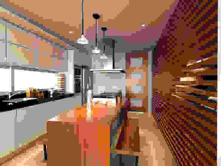 Cocina / Condominio Filadelfia (Ibagué - Tolima) de Taller 3M Arquitectura & Construcción Minimalista Madera Acabado en madera