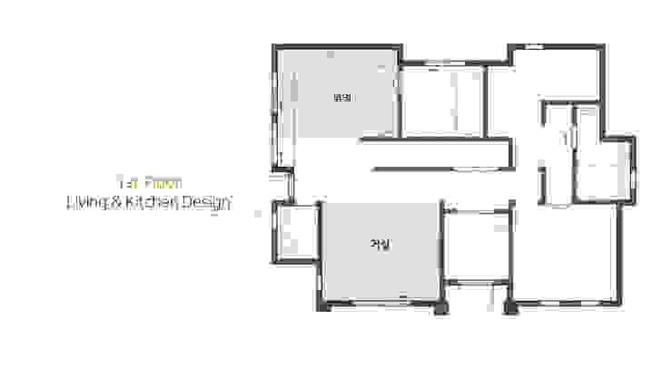 거실 & 주방: 윤성하우징의 현대 ,모던