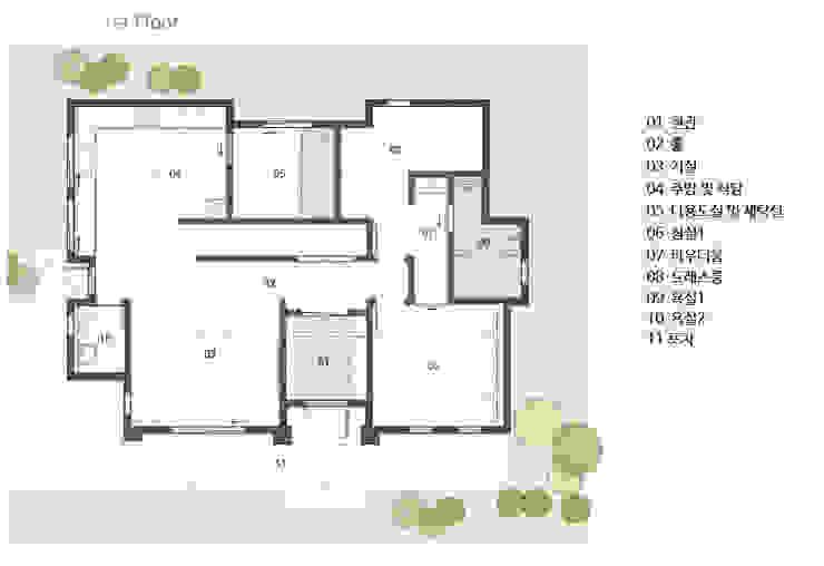 1층 평면도: 윤성하우징의 현대 ,모던